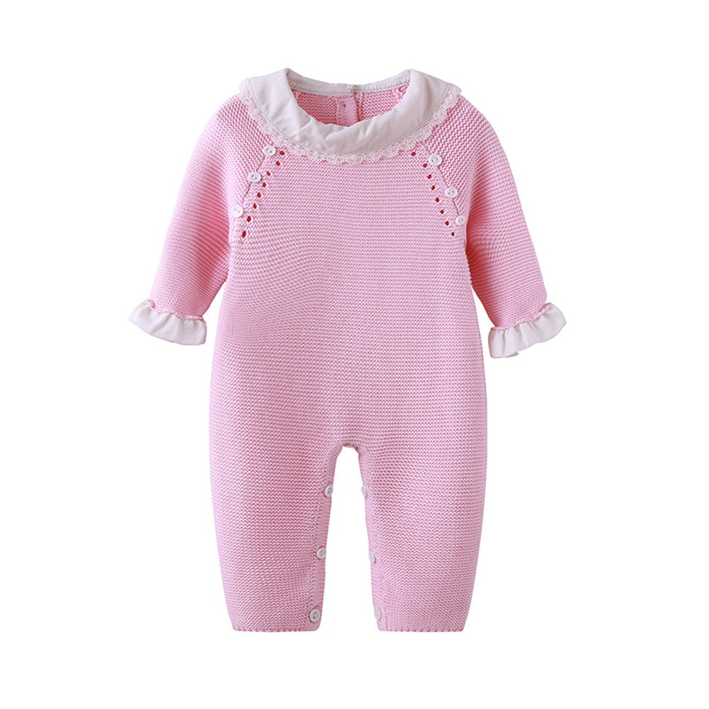 Auro Mesa Newborn Baby Girls Pink Knitting Romper Ruffled Cuff Baby Clothes