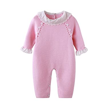 053974528ac Auro Mesa Newborn Baby Girls Pink Knit Romper Ruffled Cuff Baby Clothes  Cute Baby Girls Princess