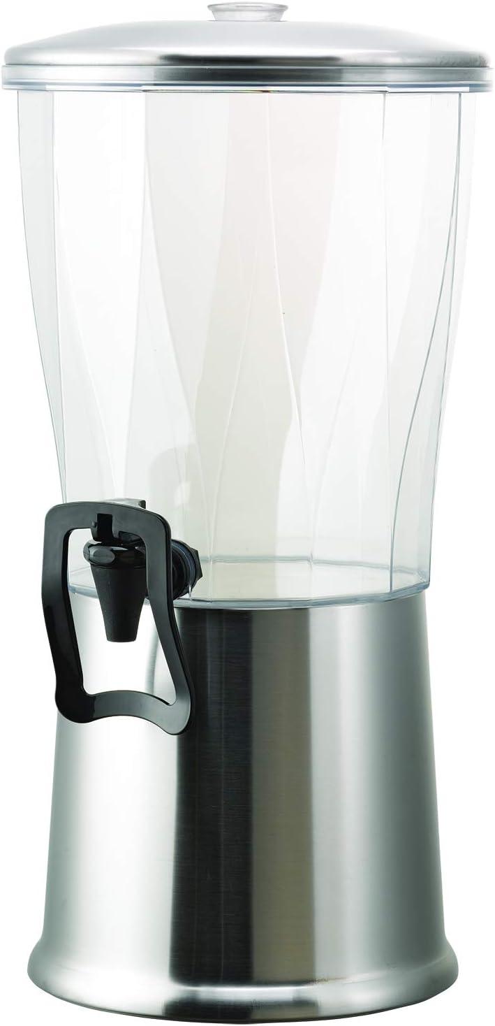 Service Ideas CBDRT3SSHF Beverage Dispenser with Hands Free spigot, Round, 3 Gallon, Stainless Steel w/Ice Well, Silver