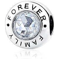 """Breloque Pandora """"Family Forever"""" en argent sterling 925 et zircone transparent - Compatible avec les bracelets européens"""