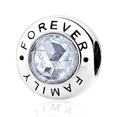 3e18d458016e95 Charm-Anhänger, 925 Sterlingsilber mit Zirkonia, Motiv: Family Forever, für  Pandora-Armbänder, kompatibel mit europäischen Armbändern