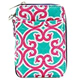quilted wallets for teen girls - Wristlet Wallet for Girls Quilted Fun Designs with Phone Pouch (Fushia & Teal Geometric)