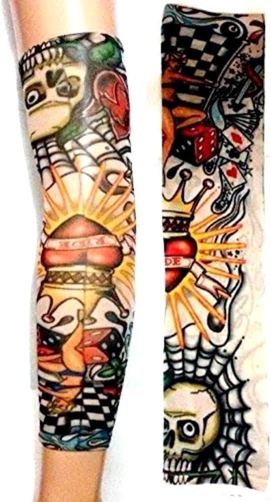 Legisdream Mangas del Tatuaje con el cráneo y del corazón de ...