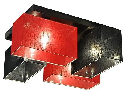 Hausleuchten Deckenlampe 4 VariantenDeckenleuchteLeuchteLampeFlammigMassivholzrot Schwarz Jls41scrod UGMVSqzLp