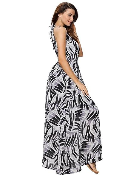 Aofur Womens Summer Boho Zebra Pattern Long Casual Beach Evening