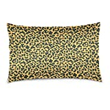 ALAZA Beautiful Animal Leopard Print Cotton Lint Pillow Case,Cover with Zipper Pillowcase Twice Sides Printing Size 20''x30'',for Bedroom Living Room