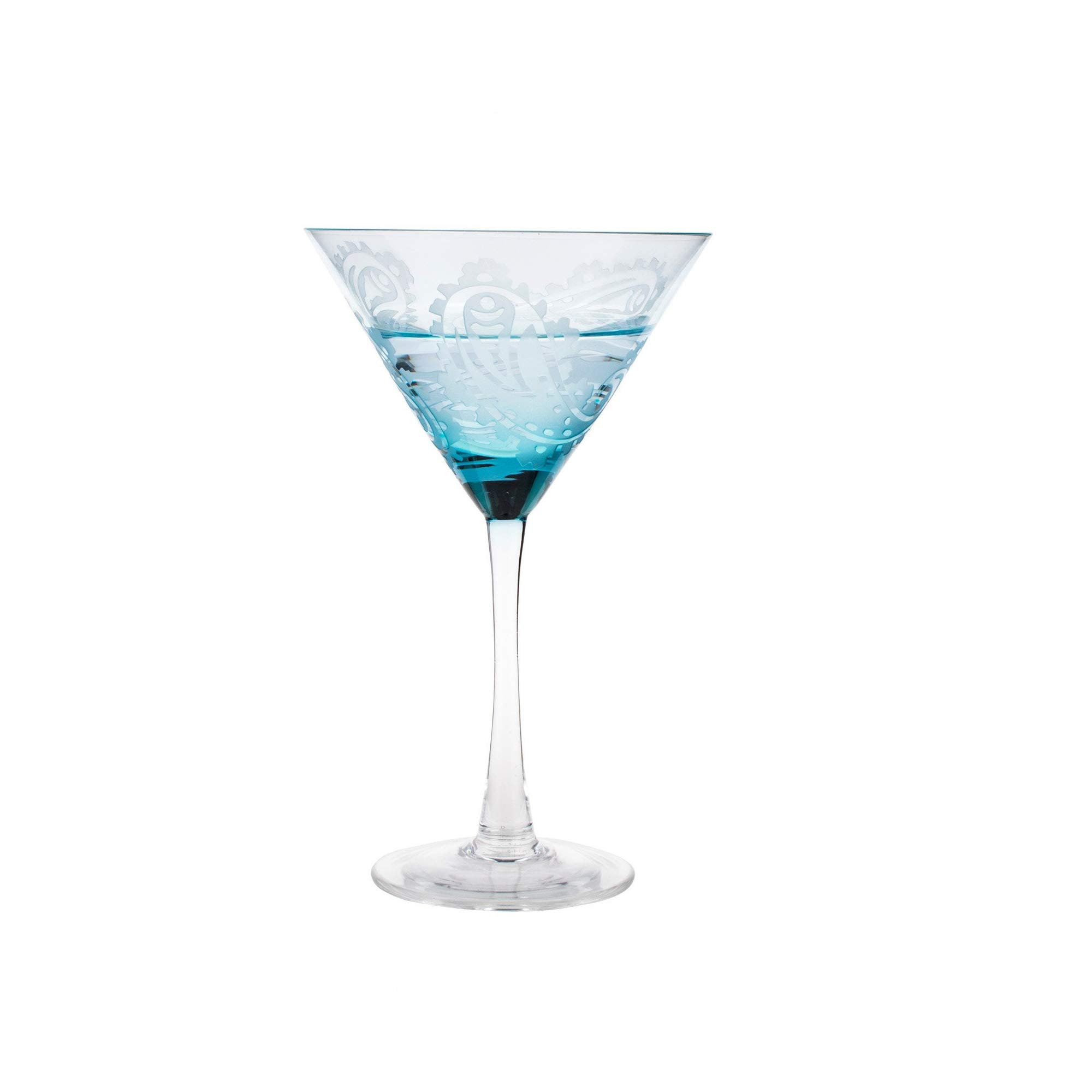 EssenceLiving Stemmed Martini Cocktail Glasses, Mouth Blown Glass Blue Etched Wine Glasses, Fantastic Gift for Him, Wedding Gifts(Blue)