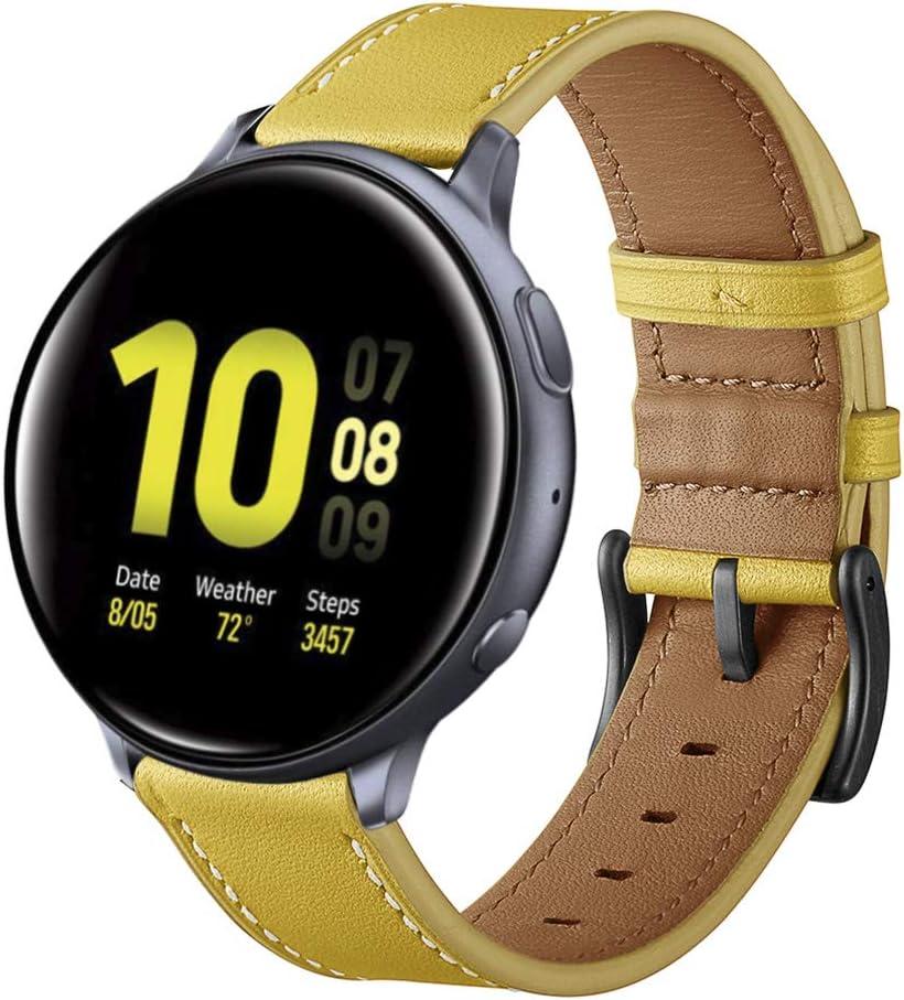 Aottom Correa Compatible con Samsung Galaxy Watch Active2/ Galaxy Watch 42mm Reloj 20mm Band Cuero Samsung Galaxy Watch Gear Sport/Active/Active2/Garmin VivoActive3 Pulsera de Repuesto,Amarillo