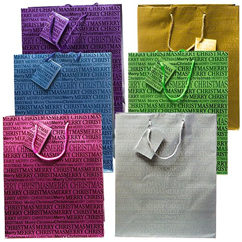 "UPC 878817005606, Large Metallic ""Merry Christmas"" Gift Bags"