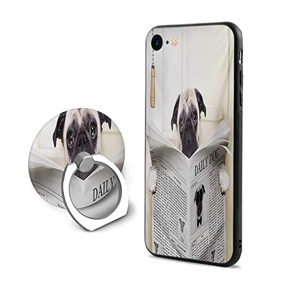 save off 9d9fb b9512 Amazon.com: Pug iPhone 7/iPhone 8 Cases,Puppy Reading The Newspaper ...