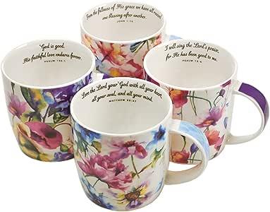 Christian Art Gifts Ceramic Coffee/Tea Mug Set for Women | Seeds of Love Garden Blooms Design Bible Verse Mug Set | Boxed Set/4 Coffee Cups