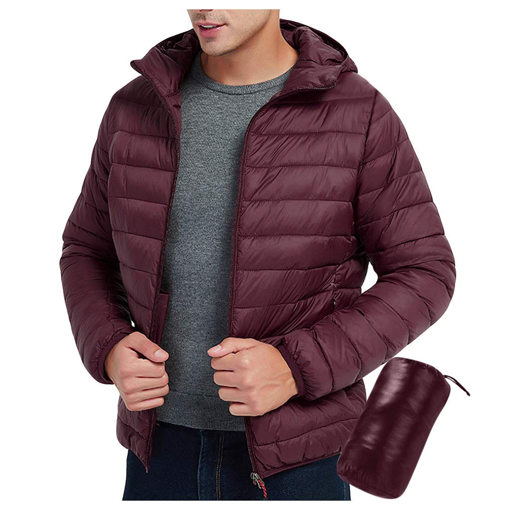 Asalinao Men's Jacken Warm Hooded Coat Ultra-Light Solid Color Carrying Case Warm Jackets