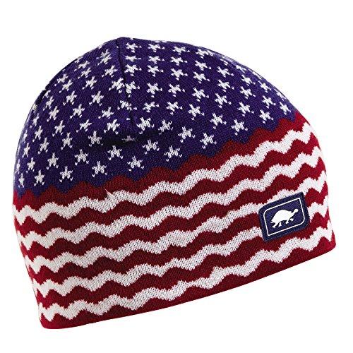 Turtle Fur Long May It Wave Merino Wool Knit American Flag Beanie -