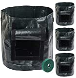 Sfirey Garden Grow Bags 4 Pack 7 Gallon Durable Potato Grow Bag Planting Fruit, Onion, Tomato, Carrot, Vegetables Flower