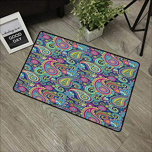 Carpets Floor Door Mat Navy and Blush,Old Fashioned Eastern Floral Paisley Motif Vintage Oriental Elements, Pink Blue Yellow,Indoor Outdoor, Waterproof, Easy Clean, Low-Profile Mats,35