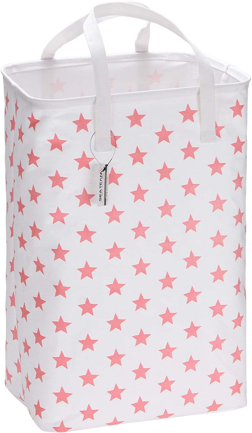 "Sea Team 23.6"" Large Size Canvas Fabric Laundry Hamper Collapsible Rectangular Storage Basket with Waterproof Coating Inner and Handles, Pink Star"