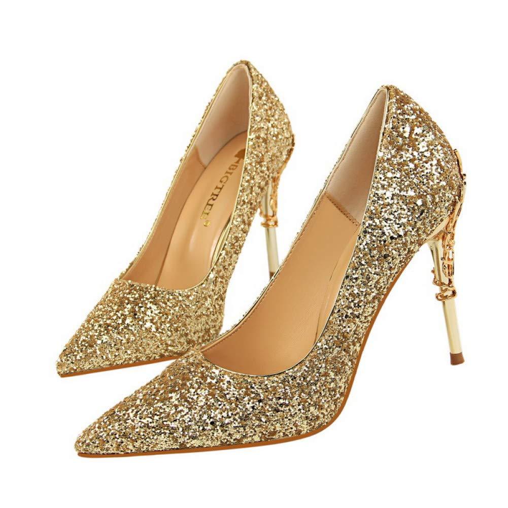 Ai Ya-liangxie Marke Frauen Schuhe Metall Dekoration Schnitzen Heels Sexy Pailletten Damen Glitzer Pumpen 9 5 cm High Heels Gold Hochzeit Schuhe