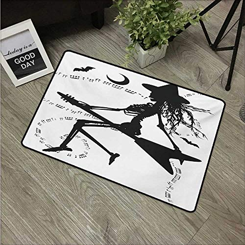 Anzhutwelve Music,Door mats Witch Flying on Electric Guitar Notes Bat Magical Halloween Artistic Illustration W 20