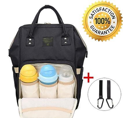 Multifunción de pañales de gran capacidad mochila de viaje para mamá y papá negro + 2