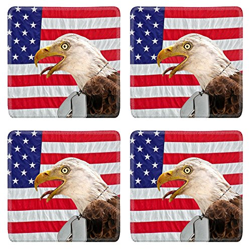 Liili Square Coasters Non-Slip Natural Rubber Desk Pads IMAGE ID: 4945729 Regal bald eagle wearing military dog tags on a flag]()