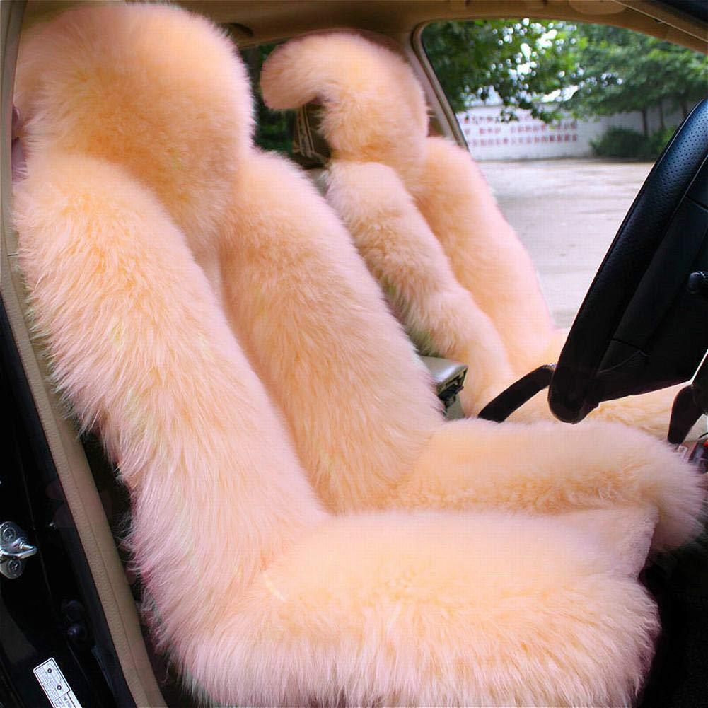 OKAYDA One Piece Genuine Wool Winter Warm Sheepskin Car Seat Cover High Low Wool Luxury Real Fur Car Seat Covers Beige