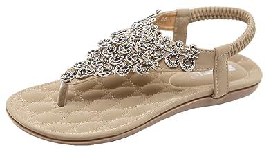 2800781ea66c5 Womens Rhinestone T-Strap Flip-Flop Flat Sandal (5.5 M