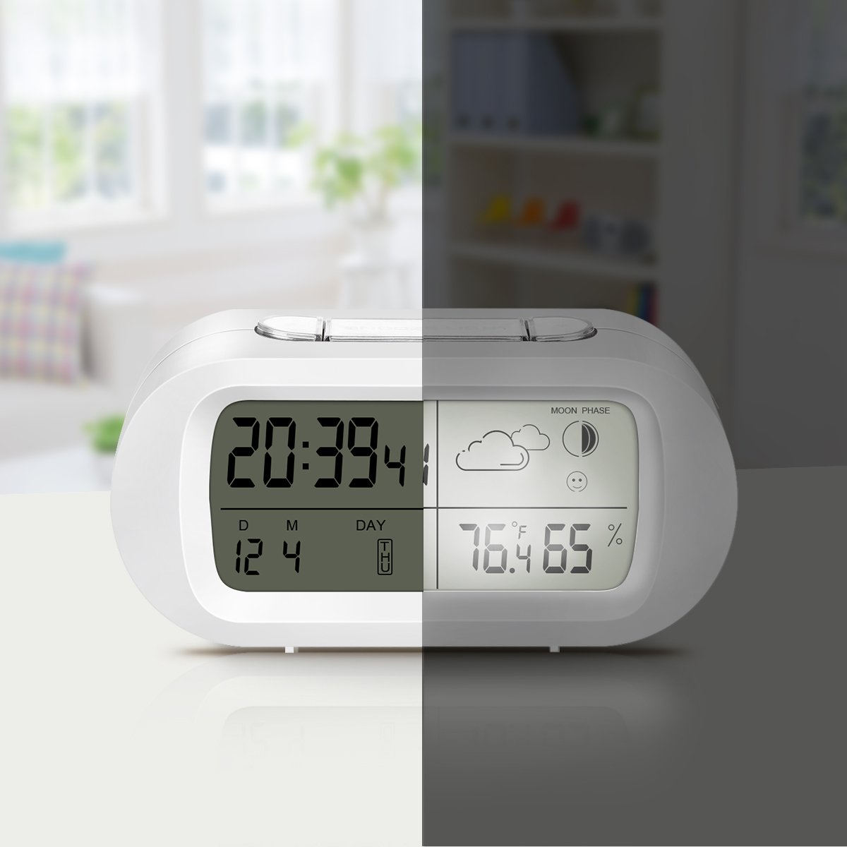 Snooze Desktop Weather Clocks Sleep Timer for Kids Office Bedroom Dormitory White EIVOTOR Temperature Hygrometer Monitor with LCD Back-light Day Date and Moon Phase Digital Alarm Clock