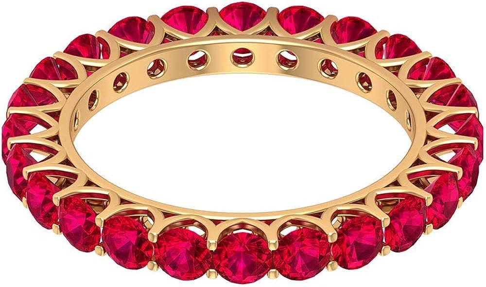 Anillo de boda de 3,6 ct de 3 mm de rubí, delicado anillo de eternidad completa, anillo de piedra natal de julio, anillo apilable de dama de honor, 18K Oro