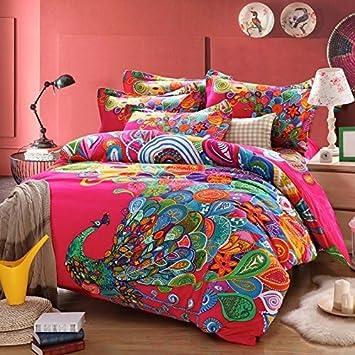 thefit bohmien bohme textiles parure de lit housse de couette style queen motif paon with housse. Black Bedroom Furniture Sets. Home Design Ideas