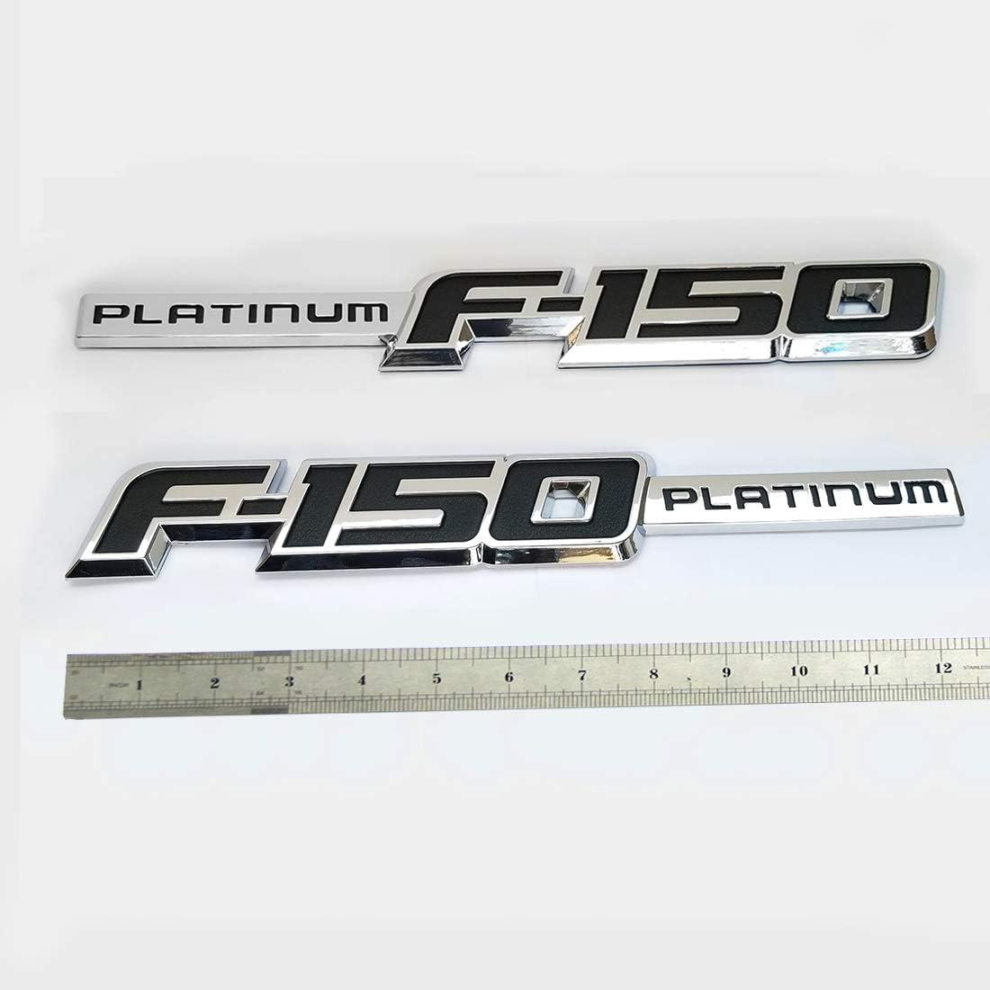 2pcs OEM F-150 Platinum Badge Emblem Side Fender 3D Logo Nameplate Replacement for F150 Chrome Black Origianl Size Genuine Parts