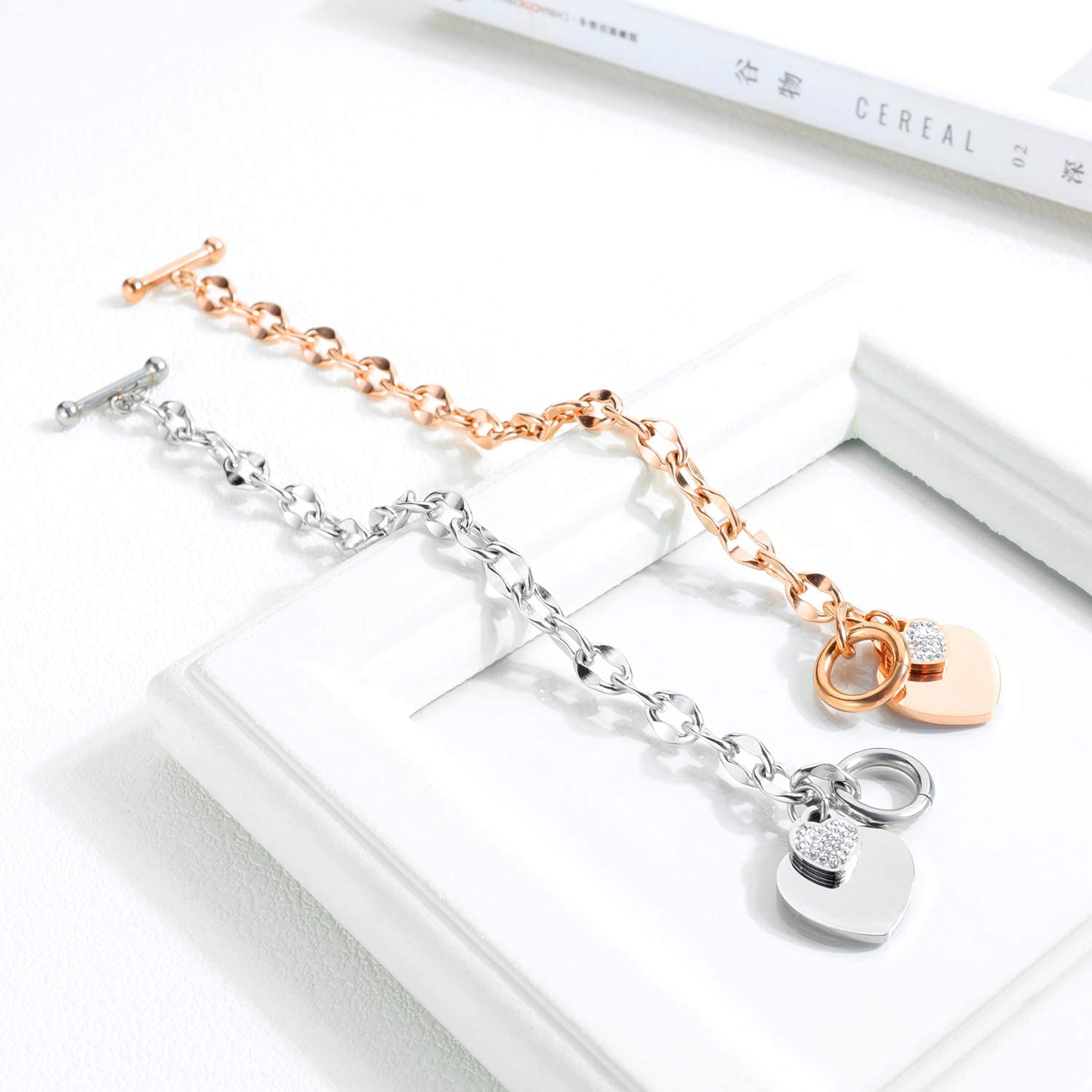 Stainless steel Very trendy teenager ... Neck rasmesh trombone watermark toggle heart clasp Ideal Gift woman