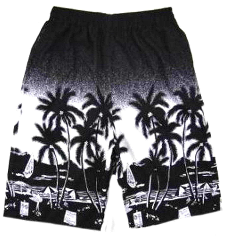 Cruiize Men Swimming Trunks Coconut Tree Print Board Shorts Tropical