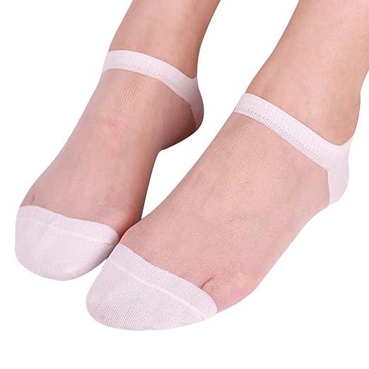 MALLOOM Summer Women Ladies Sheer Silky Glitter Ankle Socks Transparent Short Stockings (B)