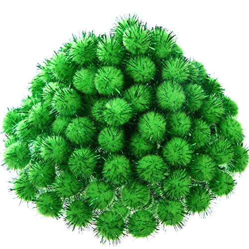 500 Pieces Glitter Pompoms 1 Inch Fuzzy Pom Poms Arts and Crafts Making Balls for Hobby Supplies and Craft DIY Decoration (Fruit Green)