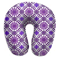 BRECKSUCH Purple Flowers Wallpaper Texture Print U Shaped Pillow Memory Foam Neck Pillow for Travel and Relief Neck Pain Comfortable Super Soft Cervical Pillows with Resilient Material Relex Pollow