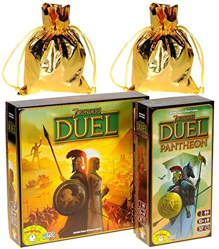 7 Wonders DUEL _ 2 Player Game _ (Not to be confused with 7 Wonders Board Game) _ with Duel PANTHEON Expansion _ Bonus 2 Gold Metallic Cloth Drawstring Storage Pouches _ Bundled Items