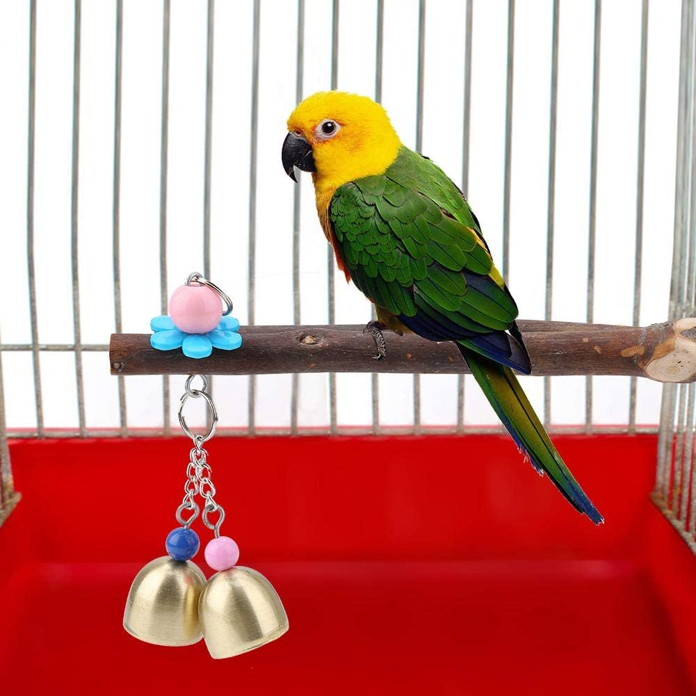 HEEPDD Parrot Perches, Natural Y Shape Tree Fork Stands Toy Training Interactive Bird Cage Perch Parrot Play Toy with Small Bell for Pet Parrot Budgie Parakeet Cockatoo Canary