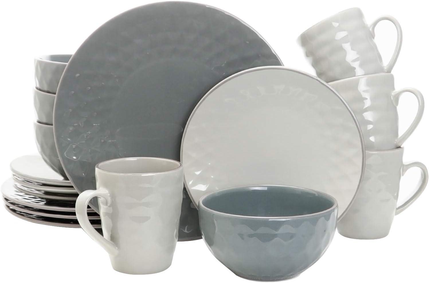 Amazon Com Elama Round Tahitian Stoneware Pearl Collection Dinnerware Dish Set 16 Piece Slate And Stone Gray Dinnerware Sets