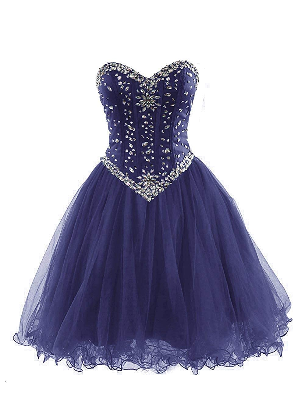 Navy bluee Short Homecoming Dresses Tulle Sweetheart Prom Bridesmaid Dress Beaded Cocktail Prom Gowns