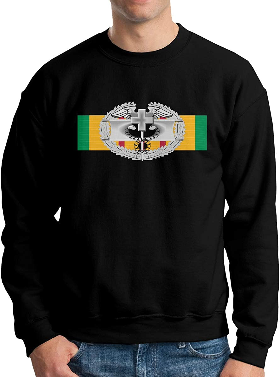 Vietnam Service Ribbon with Combat Medical Badge License Plate Mens Long Sleeve Crew Neck Pullover