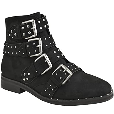665ed50bdf910 Fashion Thirsty Womens Ladies Studded Flat Ankle Boots Strappy Biker  Buckles Amelia New Size  Amazon.co.uk  Shoes   Bags