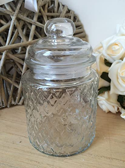 Small Glass Sweet Jar Candy Storage Pot Vintage Wedding Table