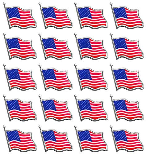 Bassion 20 Pcs American Flag Pins Waving United States Patriotic USA Lapel Pin(Silver Tone) ()