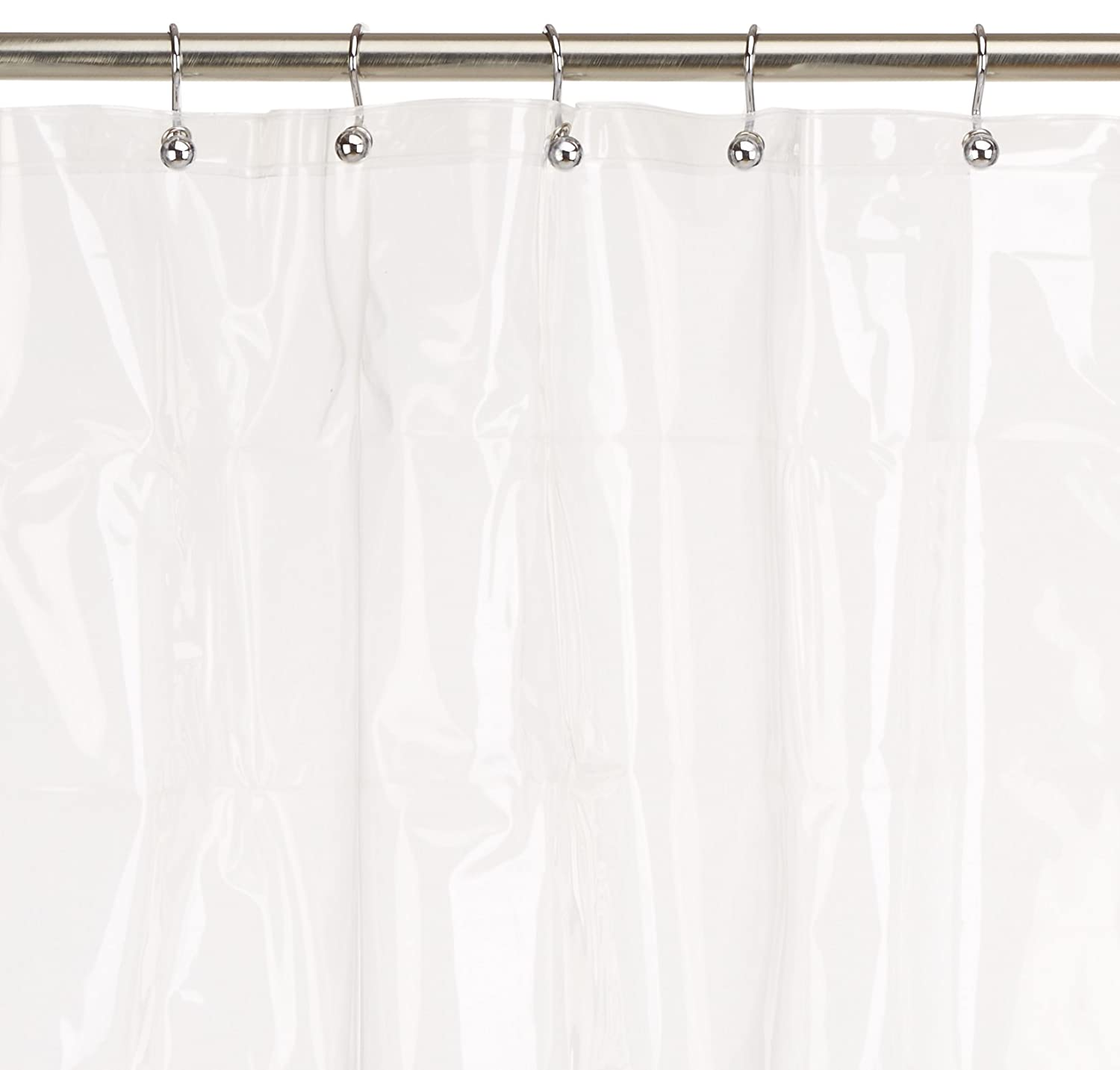 Amazon Maytex 8 Gauge Extra Heavyweight No PVC Premium Heavy Weight EVA Shower Liner Or Curtain With Rustproof Metal Grommets Clear Home Kitchen