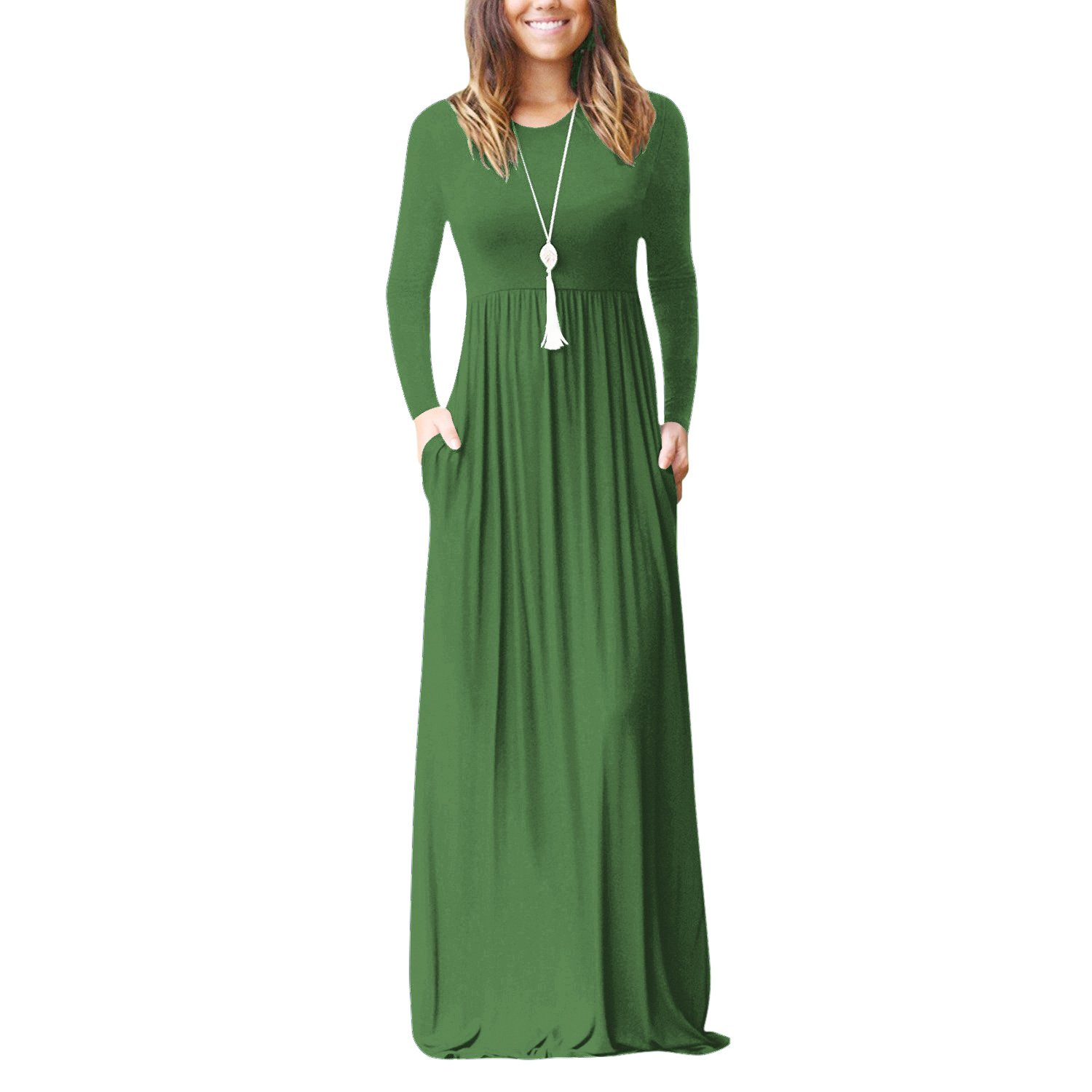 fcca38daf24e3 ... maxi dress, suitable for both base wear and outer wear in four seasons.  Women\'s Casual Style,Two Side Pockets,Long Sleeves,Round Neck,Floor Length  ...