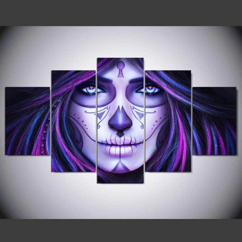 MhY 5 Panneaux Impressions sur Toile la Catrina Peinture Halloween Toile Peinture Affiche Home Decor Wall Art pour Salon 30x45cm-2p/_30x60cm-2p/_30x75cm-1p/_No/_Frame