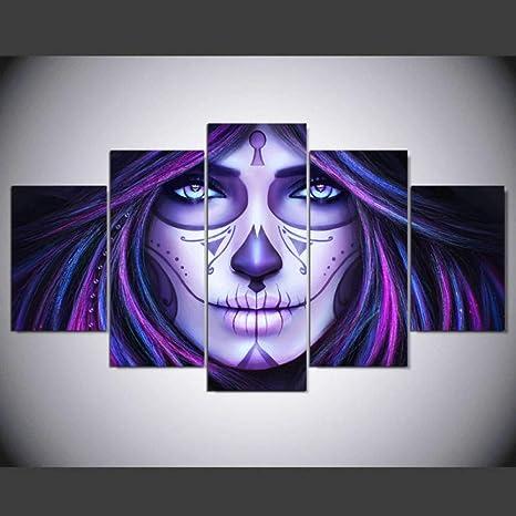Mhy 5 Panels Canvas La Catrina Painting Halloween Canvas Painting Poster Home Decor Wall Art For Living Room 20 X 30 Cm 2p 20 X 40 Cm 2p 20 X 50 Cm 1p No Frame Amazon De Home Kitchen
