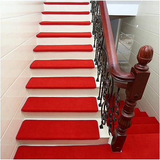 YXUD Alfombra Escalera - 5 Juegos de escaleras Interiores Antideslizantes, Alfombrillas Interiores para Mascotas - Alfombra Antideslizante para escaleras,Red,90cm*24cm*3cm: Amazon.es: Hogar