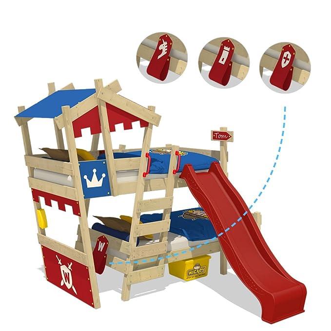 WICKEY Litera CrAzY Castle Cama infantil doble 90x200 Cama alta con tobogán, escalera, techo y somier, rojo-azul + tobogán rojo: Amazon.es: Bricolaje y ...