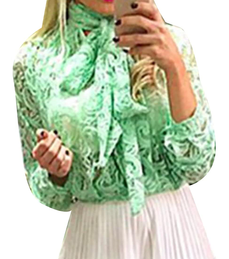 5882546cd1e557 Amazon.com  Jaycargogo Women s Casual Bow Tie Blouse Lace Long Sleeve Tunic  T-Shirts Green L  Clothing